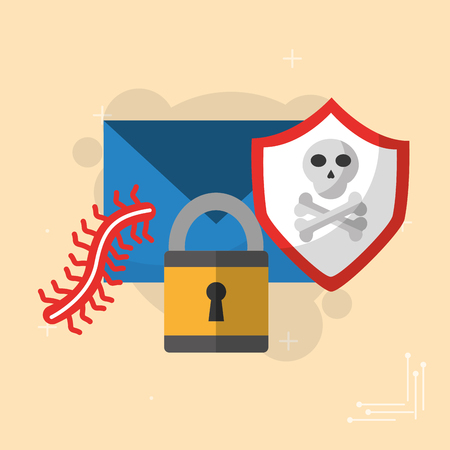 cyber security email message padlock shield protection worm vector illustration Illustration