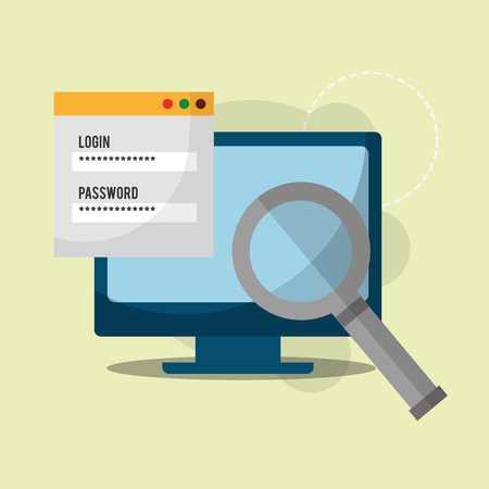 cyber security computer search analysis password login vector illustration Illustration