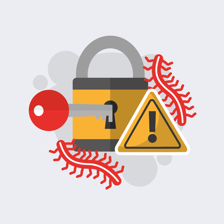 cyber security padlock key alert worm safety technology vector illustration Illustration
