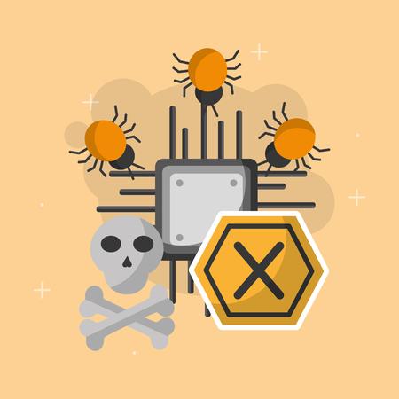 cyber security motherboard error skull danger bugs infected vector illustration