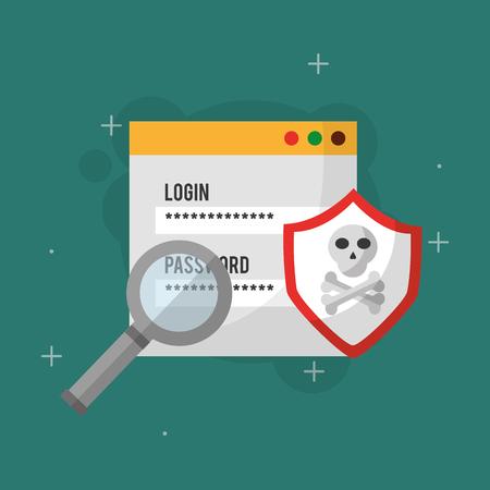 cyber security website login code shield search analysis protection vector illustration Ilustração
