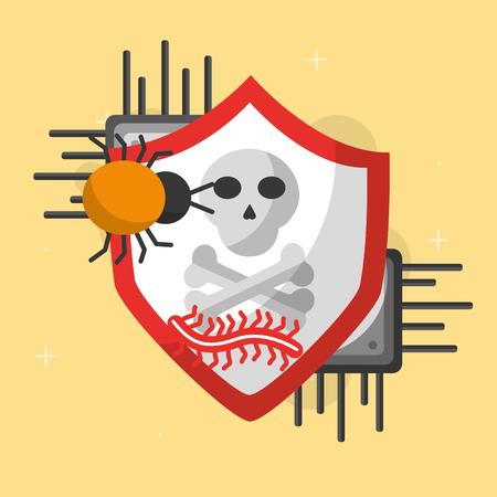 cyber beveiliging boord circuit schild bescherming worm bug gevaar vector illustratie Stock Illustratie