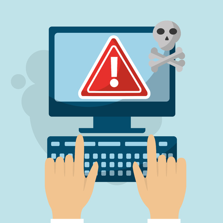 hands typing keyboard computer error alert virus cyber security vector illustration
