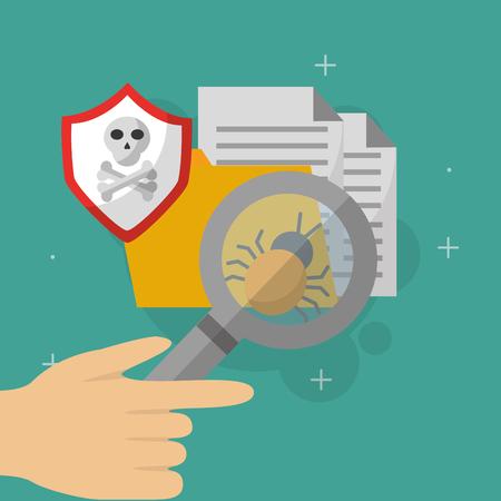hand searching folder documents virus cyber security vector illustration Illustration
