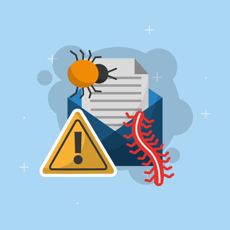 email message bug worm warning cyber security vector illustration