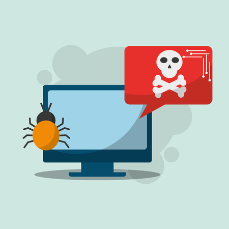 cyber security computer notification bug virus danger vector illustration