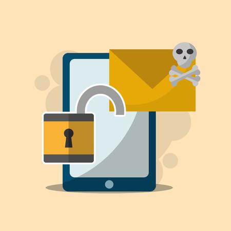 cyber security smartphone email spam unlock padlock vector illustration