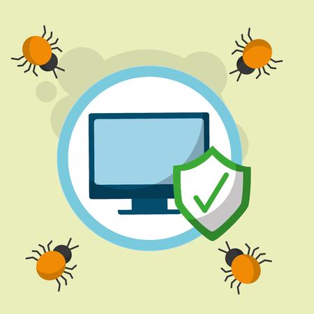 cyber security computer checkmark virus danger attack vector illustration