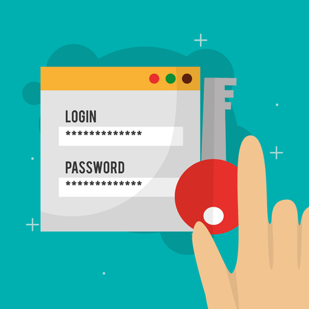 cyber security hand holding key access website login code vector illustration