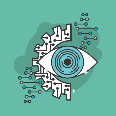 artificial intelligence eye surveillance technology electronic vector illustration Illustration