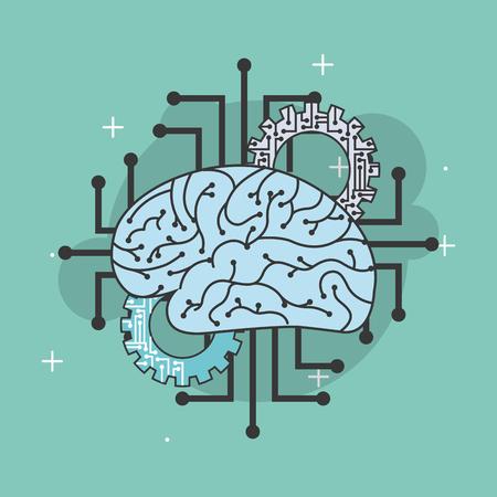 artificial intelligence human brain gears circuit vector illustration