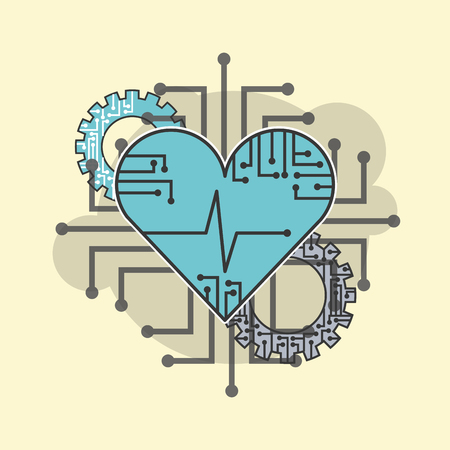 heart beat healthy technology technical vector illustration