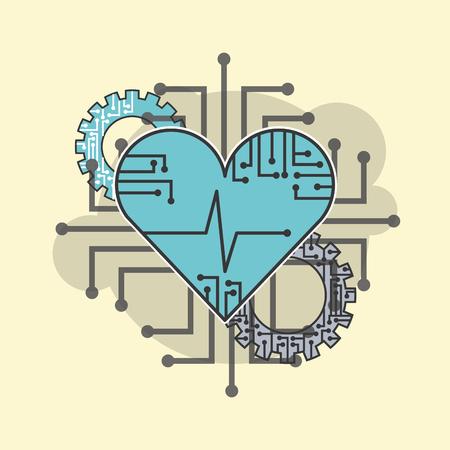 heart beat healthy technology technical vector illustration