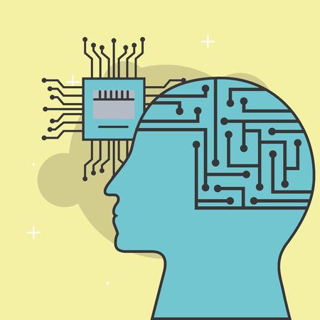 artificial intelligence mother board circuit vector illustration Иллюстрация