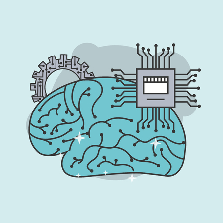 artificial intelligence human brain board circuit vector illustration