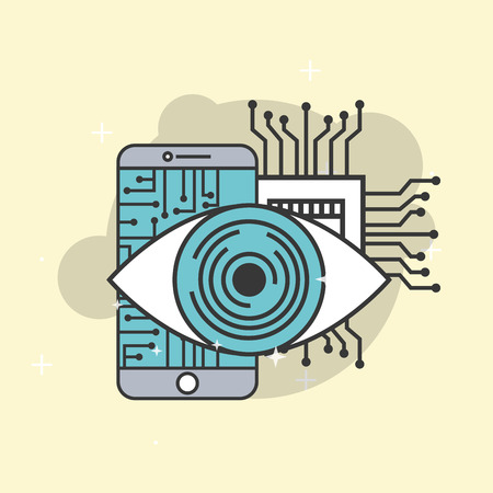 artificial intelligence surveillance smartphone circuit board vector illustration