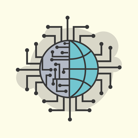 world connection circuit electronic technology vector illustration