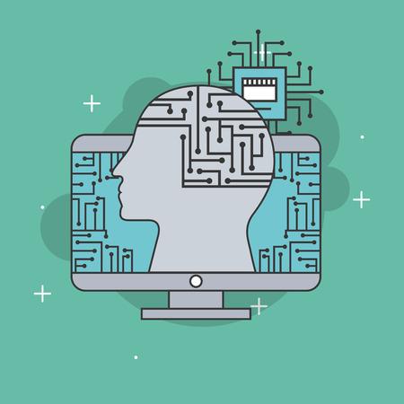 artificial intelligence profile head brain board circuit vector illustration Ilustração