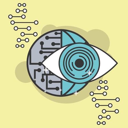 artificial intelligence surveillance eye world circuit vector illustration