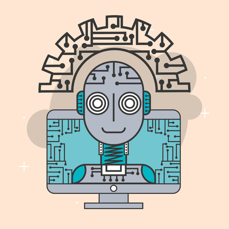 artificial intelligence computer robot innovation machine vector illustration Illustration