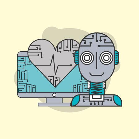 Robot d'intelligence artificielle mécanisme futuriste illustration vectorielle sain Banque d'images - 99879499
