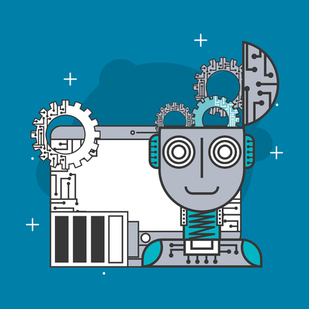 artificial intelligence robot machine work brain battery web vector illustration Illustration