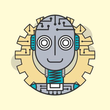 artificial intelligence robot machine innovative future vector illustration