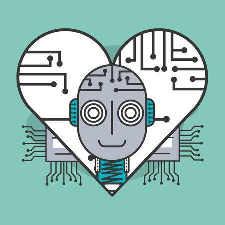 artificial intelligence robot in heart healthy concept vector illustration