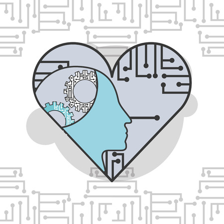 artificial intelligence profile head gears heart circuits vector illustration