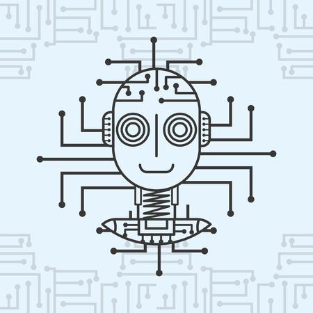 artificial intelligence autonomous robot technology vector illustration