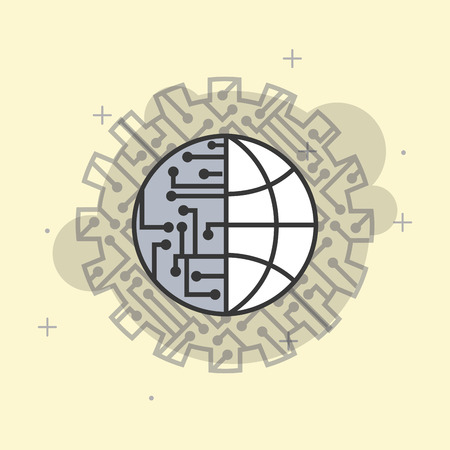 artificial intelligence world connection circuit processor vector illustration