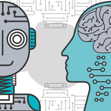 artificial intelligence human head brain and robot vector illustration