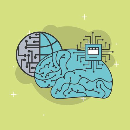 artificial intelligence human brain world cpu processor vector illustration 向量圖像