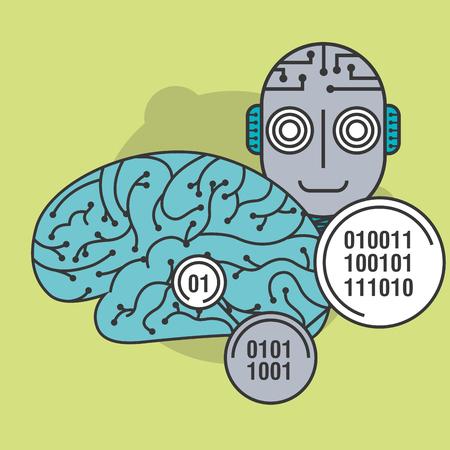 artificial intelligence circuit brain robot futuristic vector illustration