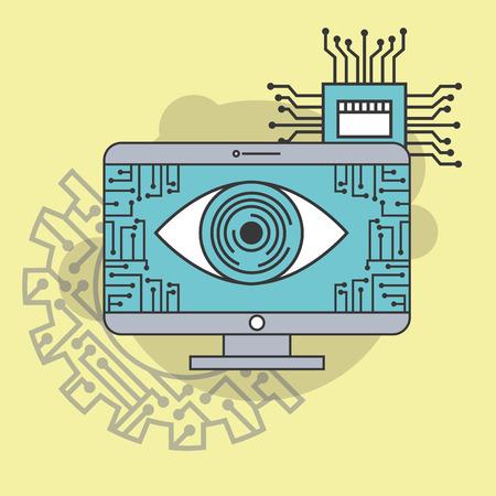 artificial intelligence computer processor circuit technology vector illustration