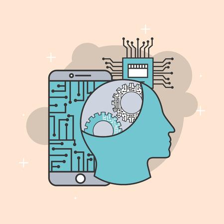 人工知能人間の脳設定モバイルCPU回路ベクトル図