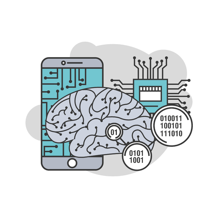smartphone human brain cpu circuit process technology binary vector illustration