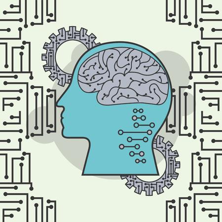artificial intelligence profile human brain digital mind vector illustration