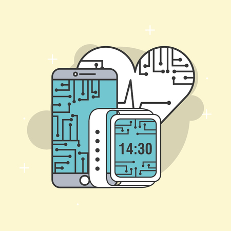 smartphone wearable technology cpu circuit vector illustration