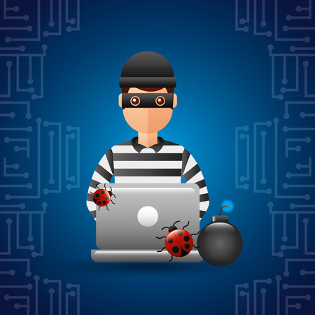 hacker thief working laptop bugs and bomb attack vector illustration Illustration
