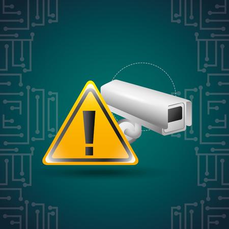 cyber security surveillance camera warning sign vector illustration Illustration