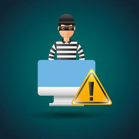 cyber security hacker computer alert sign vector illustration