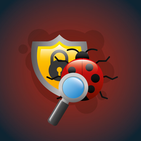 cyber security shield bug search analysis vector illustration