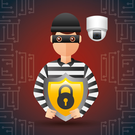 cyber security thief with shield protection camera surveillance vector illustration