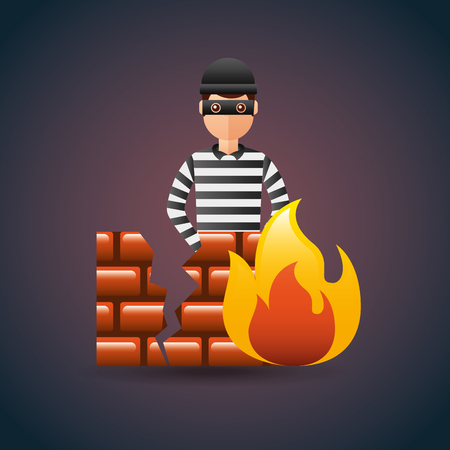 cyber security thief with firewall protection vector illustration
