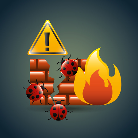 cyber security concept firewall bugs virus infection alert vector illustration