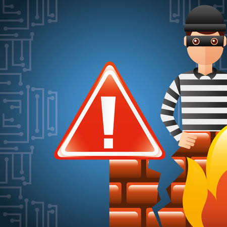 cyber security thief with firewall and warning error alert vector illustration