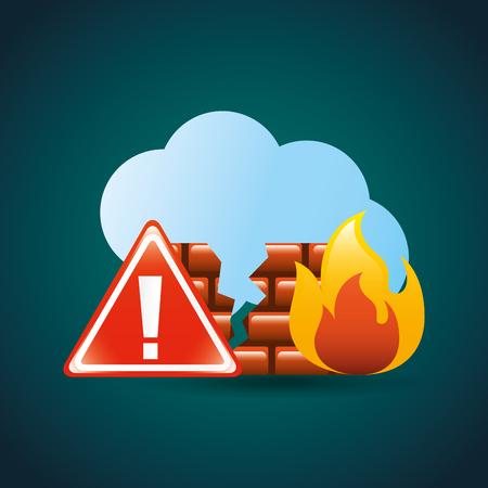 cyber security cloud storage firewall broken alert attack vector illustration