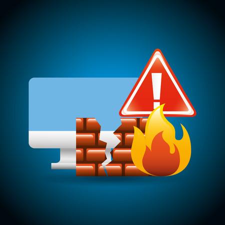 cyber security concept computer broken firewall warning vector illustration