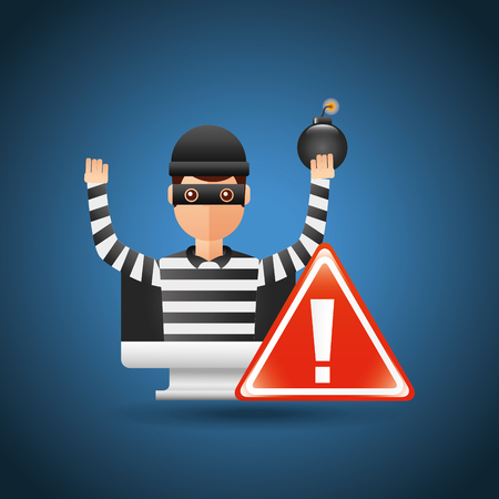 cyber security thief holding bomb computer warning alert virus attack vector illustration